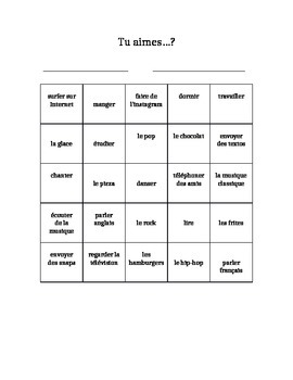 Speaking Bingo (Likes/Dislikes) Bien Dit! 1 Chapter 2