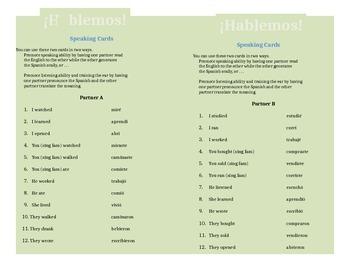 Speaking Cards: Regular Preterite Verb Conjugation