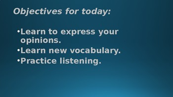 ESL Speaking and listening, vocabulary - Comprehension and questions.