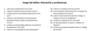 Speaking Jenga: Education & Professions