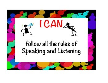 """Common Core Speaking & Listening """"I Can Posters"""" (Color Bubbles)"""