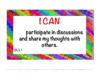 """Common Core Speaking & Listening """"I Can Posters"""" (Rainbow Border)"""