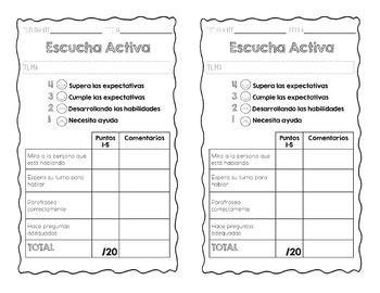 Speaking / Listening - Classroom Posters & Grading Rubrics in English & Spanish