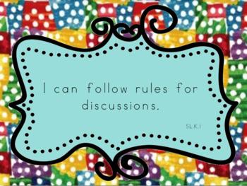 Speaking & Listening 'I Can' Statements-Kindergarten-Common Core
