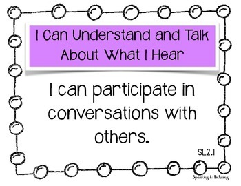 "Speaking & Listening ""I can"" Common Core Statements 2nd Grade"
