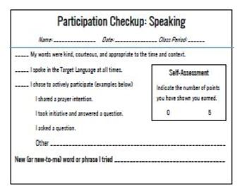 Speaking & Listening Participation Checkups (Self-Assessment) - World Languages