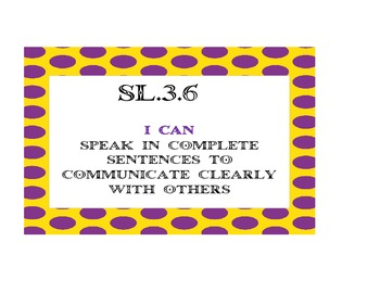 "Common Core Speaking & Listening ""I Can Posters"" (Yellow/Purple Dots)"