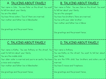 Speaking Practice Cards Pack 3 {Greetings/Giving information/Family/The present}