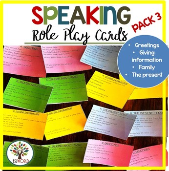 Speaking Practice Cards Pack 3 - Greetings/Giving information/Family/The present