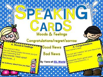 Speaking Practice Cards Pack 3 {ESL Speaking Game Cards - Moods & Feelings }