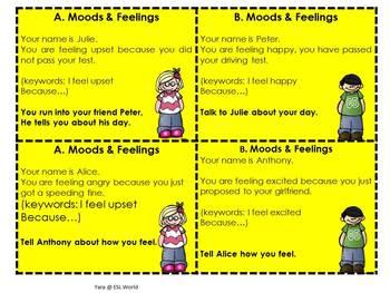Speaking Practice Cards Pack 3 {ESL Speaking Game Cards - Moods & Feelings }