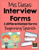 Spanish Interview Forms - Mi horario - Schedule - Differentiated