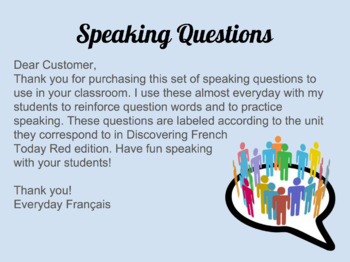 Speaking Questions Bundle: Level 2 and 3