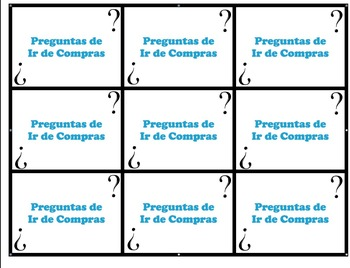 Speaking Questions Cards Realidades 2 (Getting Ready / Shopping Vocab)