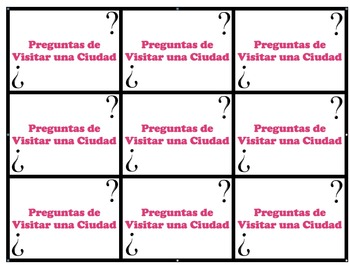 Speaking Questions Cards Realidades 2 (Travel / Visiting Vocab)