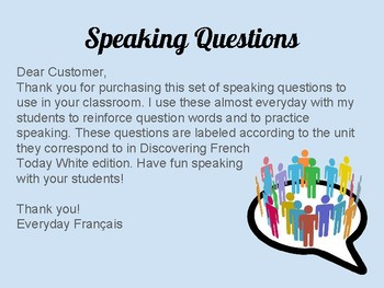 Speaking Questions: Level 2