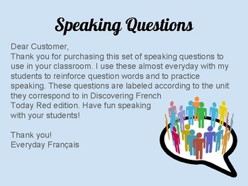 Speaking Questions: Level 3