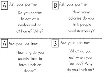 Speaking Role Play Cards ESL Pack 2 {Food & Eating - Routines}