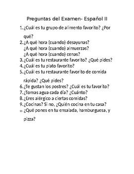 Speaking Test Questions- Food Spanish II