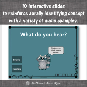 Speaking Voice or Singing Voice - Interactive Music Game {2 Voices} raccoon