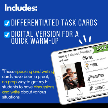 Speaking & Writing Cards for ELL Students {August}