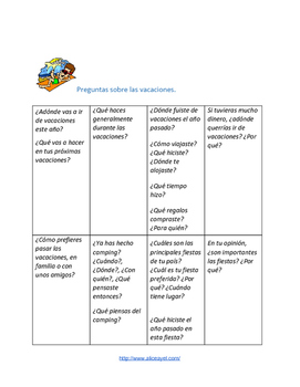 Speaking activity in Spanish: personalized questions