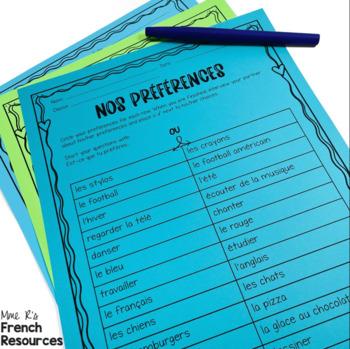 French speaking activity ER VERBS
