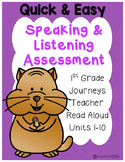 Speaking and Listening Assessments {1st grade Journeys}