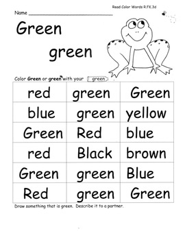 Colors And Color Words ELA PACK W Lesson PLANS 28 Pages WK8 SLK 1 6