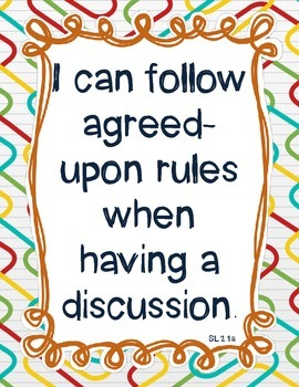 Speaking and Listening: I Can Posters for Each Standard (2nd Grade - CCSS)