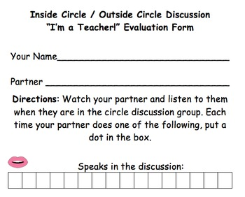 Speaking and Listening Inside Circle Outside Circle Discussion Activity