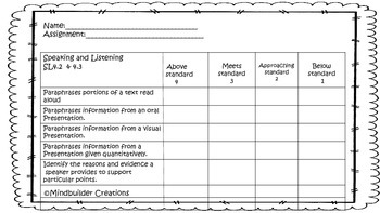 Speaking and Listening Rubric ~
