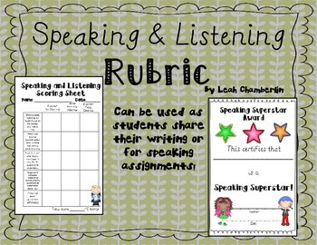 Speaking and Listening Rubric