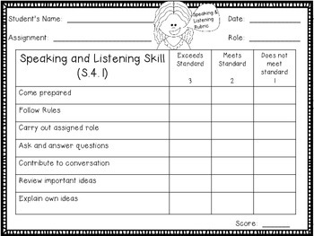 Speaking and Listening Rubric, S.4.1