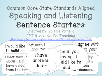 Speaking and Listening Sentence Starters Posters and Cards