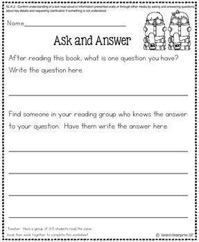 Speaking and Listening Worksheets / Activities for Kindergarten Common Core