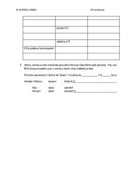 Speaking and writing activity: class schedule in Spanish