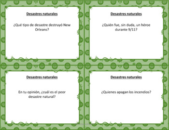 Speaking cards accidents & disasters Spanish 2 (Realidades 5A-B) Bundle