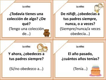 Speaking cards childhood & celebrations Spanish 2 (Realidades 4A-B)