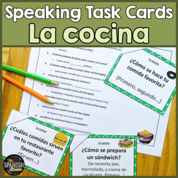 Speaking cards cocina comida Spanish 2 (Realidades 7A)