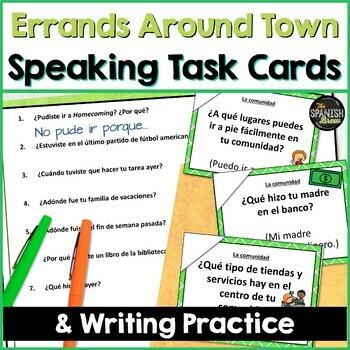 Speaking cards community comunidad cuidad Spanish 2 (Realidades 3A-B) Bundle