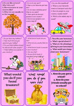 Conversation/Speaking cards - over 100 questions