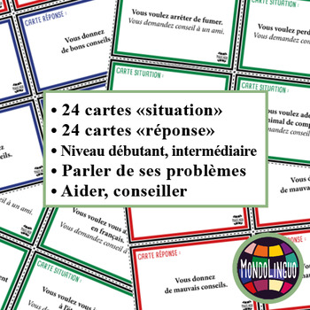 Speaking in French/FFL/FLS: Dialogue cards - Conseils d'amis/Giving advice