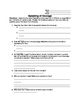 Speaking of Courage (Tim O'Brien) Short Story Worksheet (for Low-Level Readers)