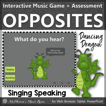 Speaking or Singing Voice Interactive Music Game + Assessment {2 Voices} dragon