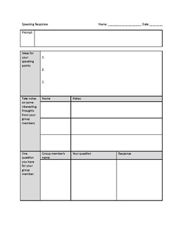 Speaking response and class discussion form