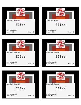 Special Agent Theme Editable Name Tags