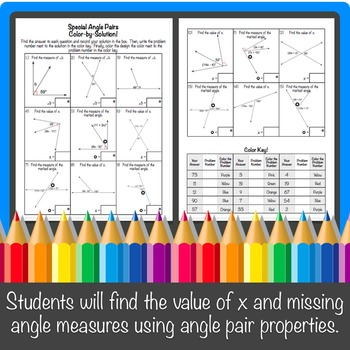 Special Angle Pairs Color-By-Number!