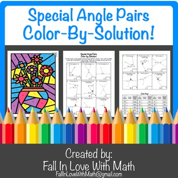 Special Angle Pairs Color By Number By Fall In Love With Math Tpt