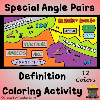 Special Angle Pairs Definition Coloring Activity